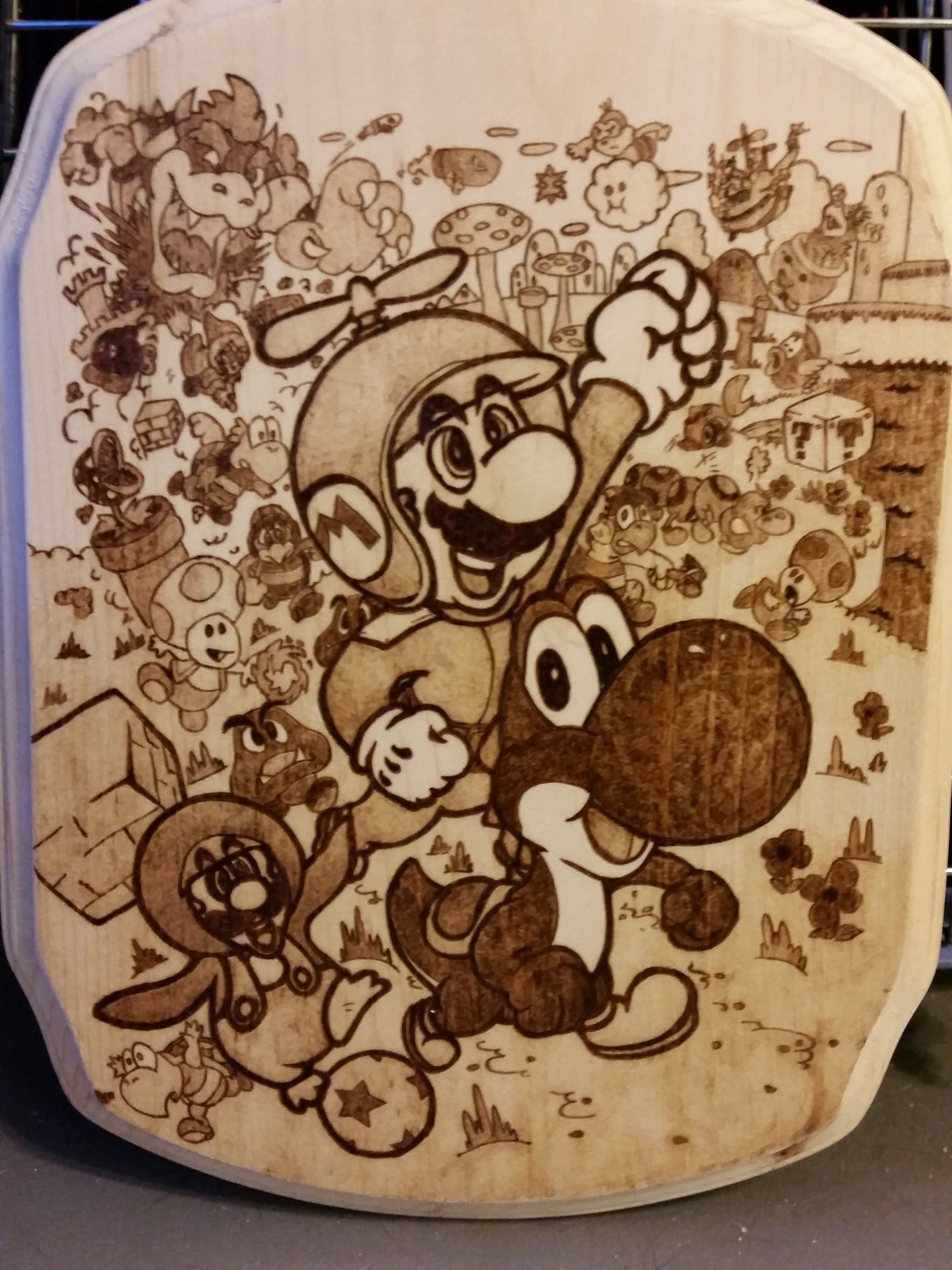 Woodburning Mario Collage Christmas Gift By Stepher17