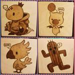 Woodburnings - Final Fantasy Coaster Collage by PrairiePyroDesigns