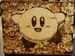 Woodburning - Extra Life 2019 - Kirby Collage by PrairiePyroDesigns