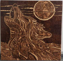 Woodburning - Ornate Wolf Howling at Moon