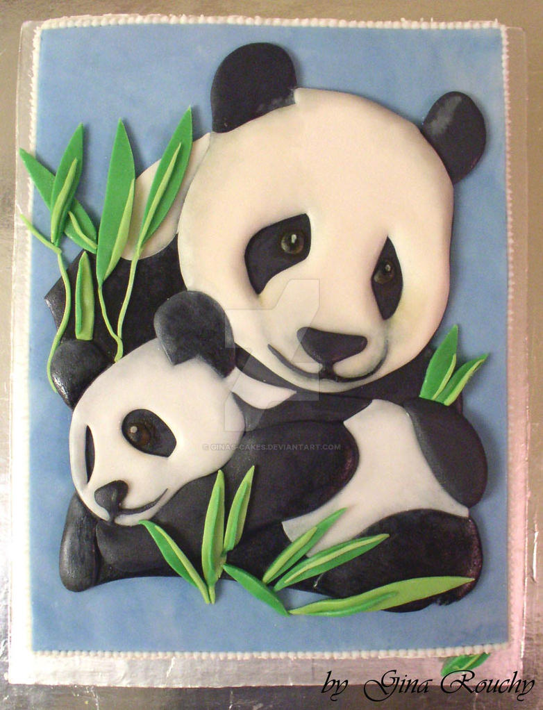 Panda mum and baby cake by ginas-cakes