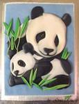 Panda mum and baby cake