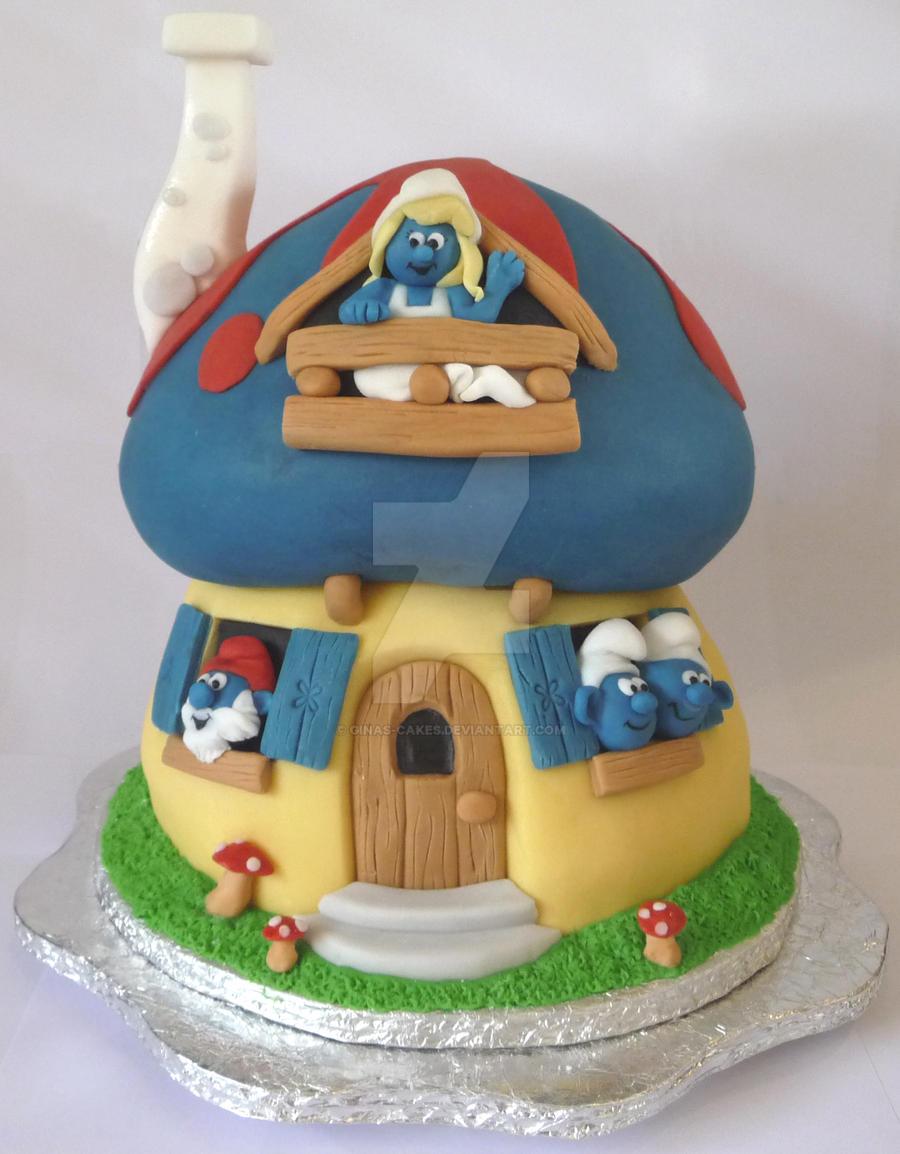 The Smurfs House Cake