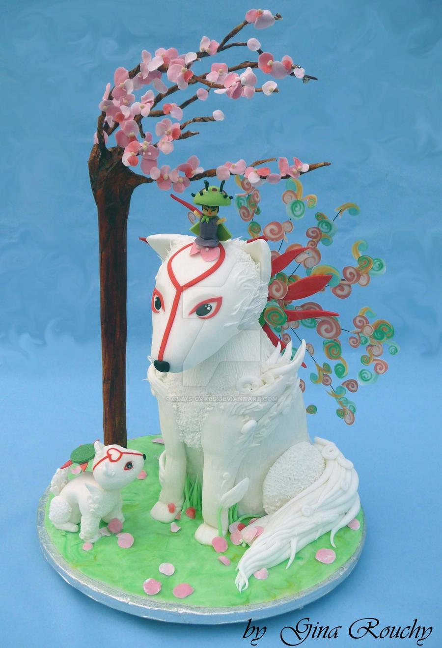 Okami and baby cake by ginas-cakes