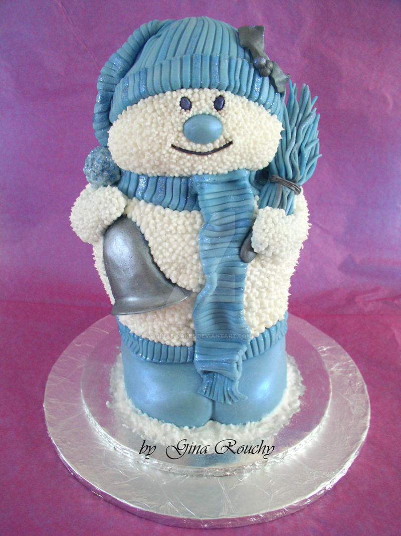 Blue Snowman by ginas-cakes