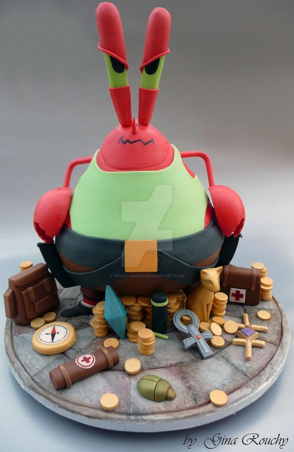 Mr Krabs as Lara Croft Cake by ginas-cakes
