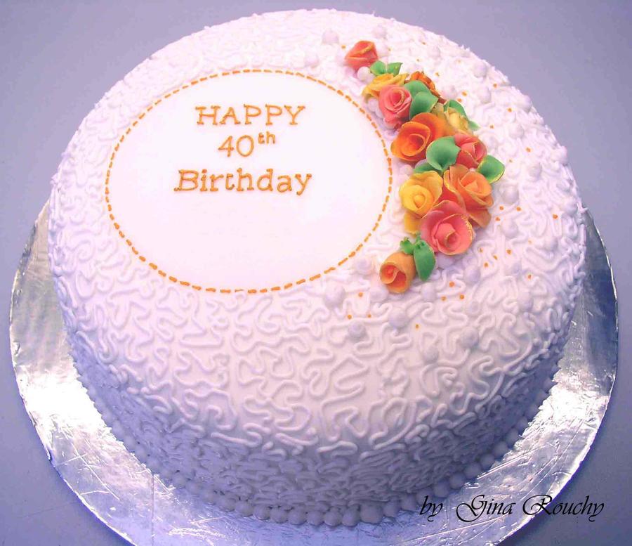40th Birthday Cake By Ginas Cakes On Deviantart