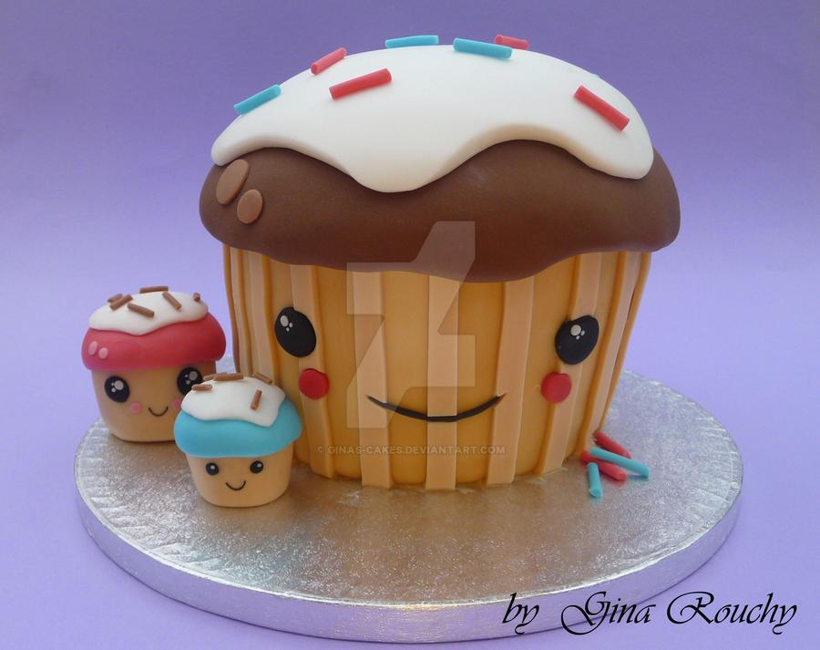 Kawaii Cupcake Cake by ginas-cakes