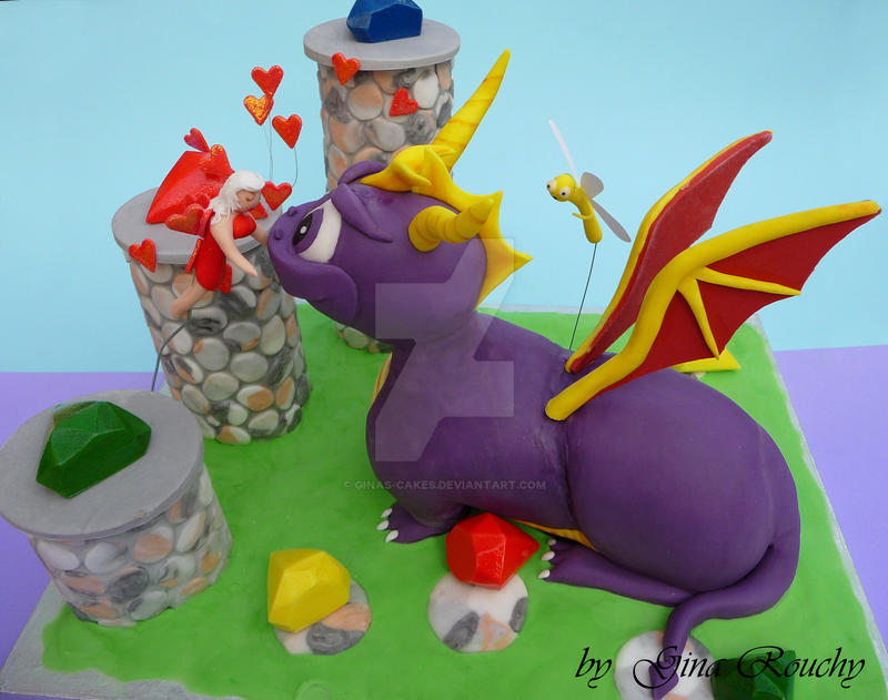 Spyro 3D Cake by ginas-cakes