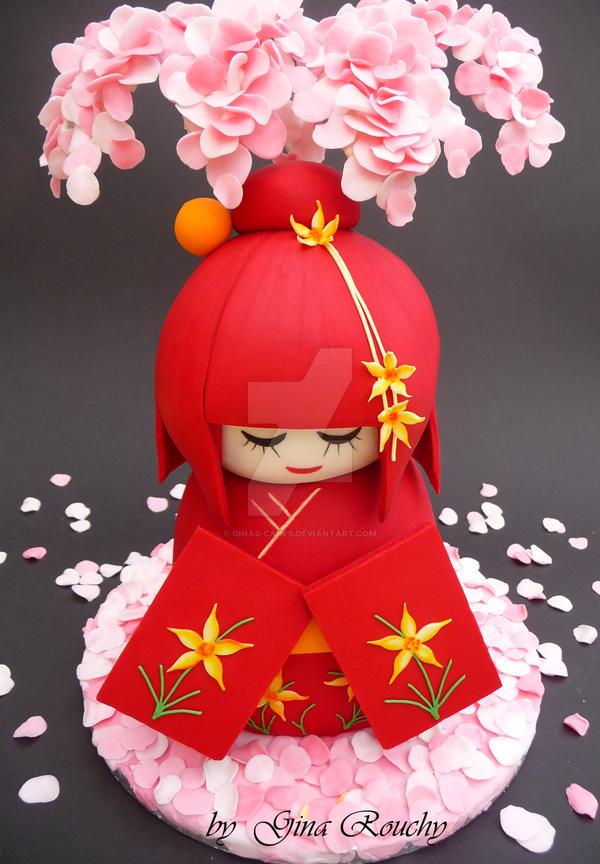 Kokeshi doll Cake by ginas-cakes