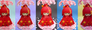 Kokeshi Doll cake Colours by ginas-cakes