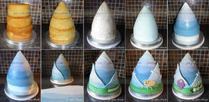 Adventure Time Cake Stages by ginas-cakes