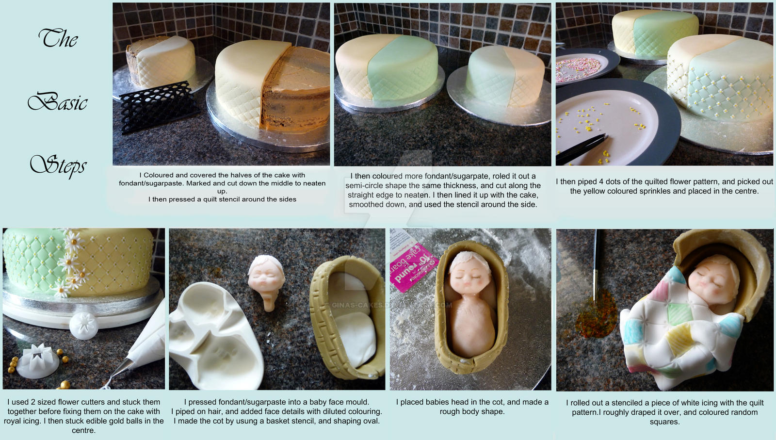 Baby in Cot Cake Stages by ginas-cakes