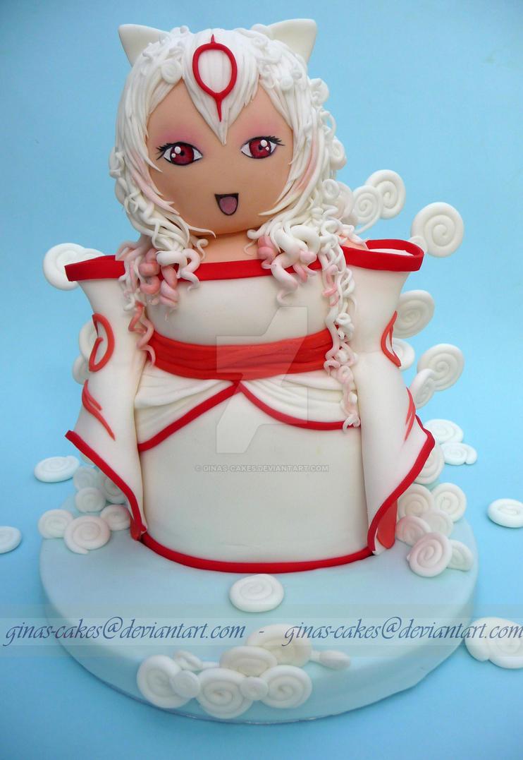 Gijinka Okami Cake by ginas-cakes