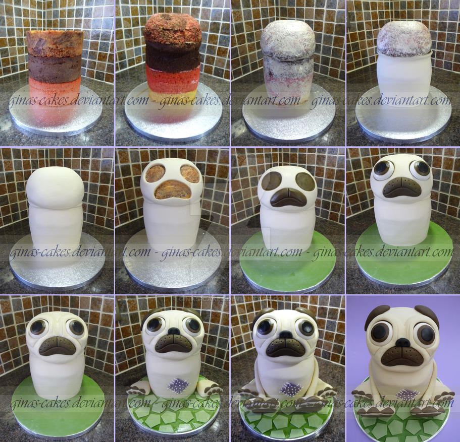 Pug Costume Cake Stages by ginas-cakes