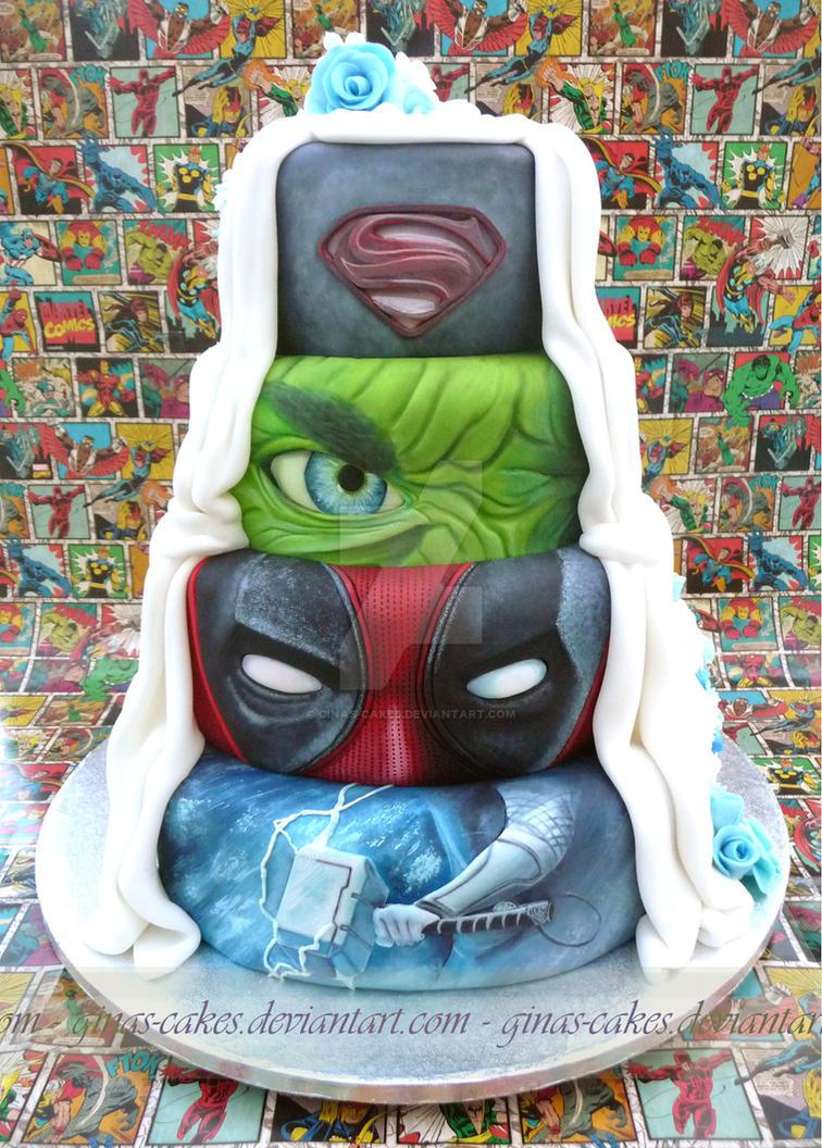 Super hero\'s Wedding Cake side 1 by ginas-cakes on DeviantArt