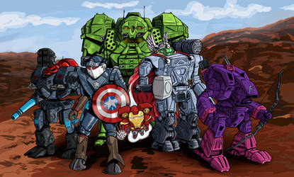 The MechAvengers with Background by Czentara