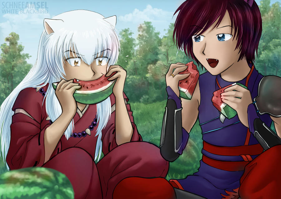 The Melon Thieves Inuyasha And Wolf By Schneeamsel On Deviantart