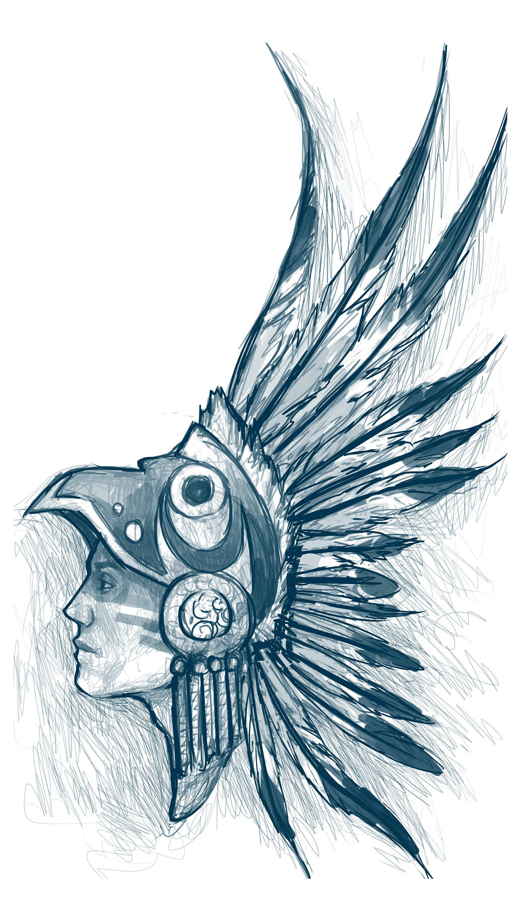 Aztec Eagle Warrior headdress.   Drawing Reference ...