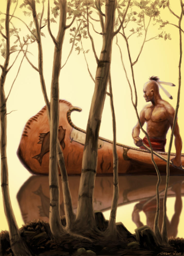 Retour. Indian_man_on_canoe__more_orangey__by_artmasterrich-d4o9h7p