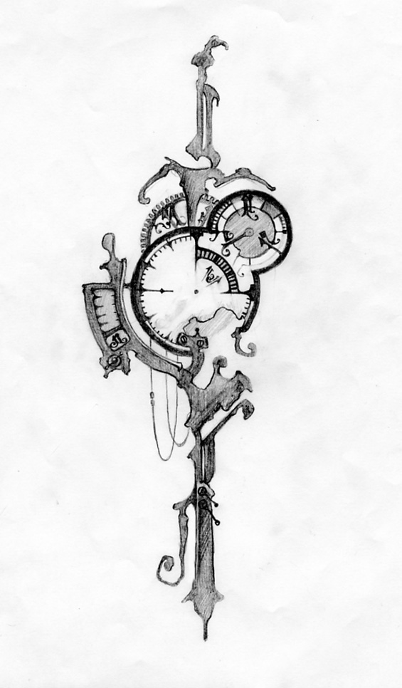 Broken Pocket Watch Tattoo Design No 6-sketch by ericfreitas