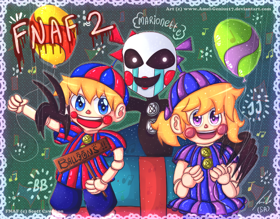 =FNAF= BB, marionette, and JJ by Amel-Genius17