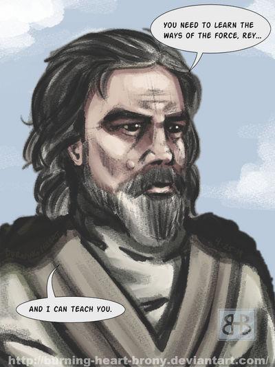 Luke Skywalker helping Rey by Burning-Heart-Brony
