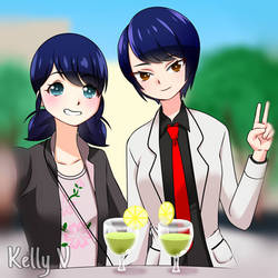 marinette and kagami  by KELLY12V