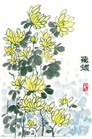Oriental Painting of Chrysanthemums by MidnightRamenAttack