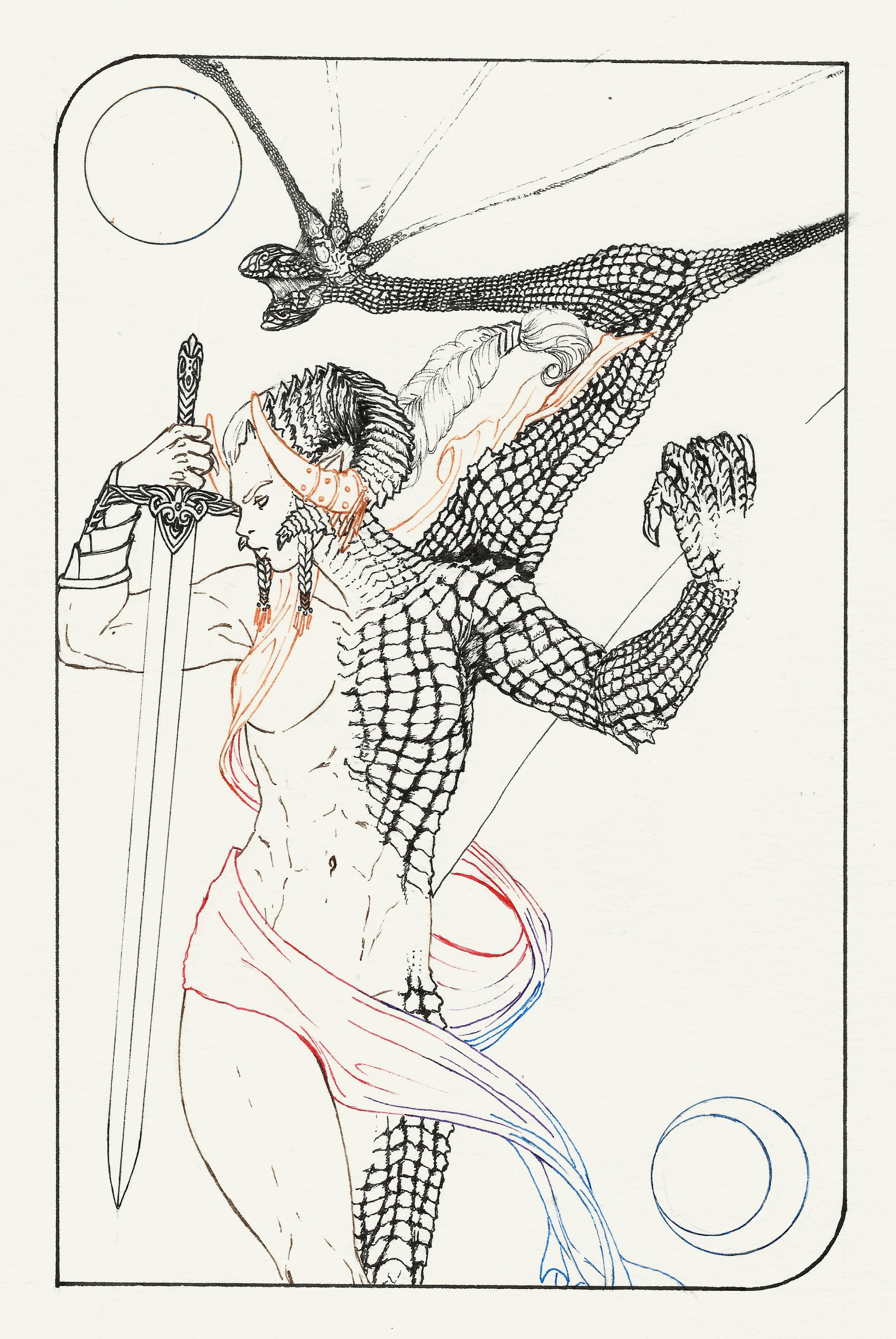 Tarot Card: King/Queen of swords lineart