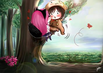 Monkey and kitty love story 08 by Janjanita