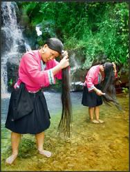 yao women on the waterfall by nask0