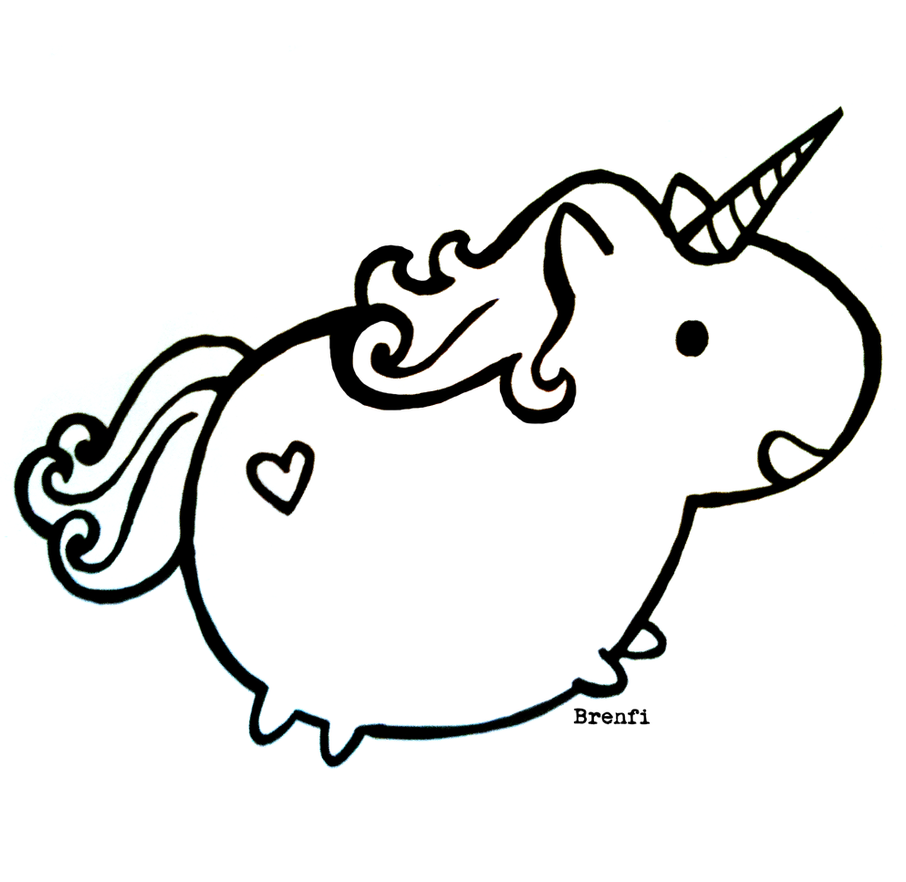 Fat Unicorn Cartoon Coloring Page