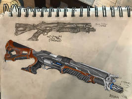 Tenno 'Tenebrae' Tactical Shotgun by HaruAxeman