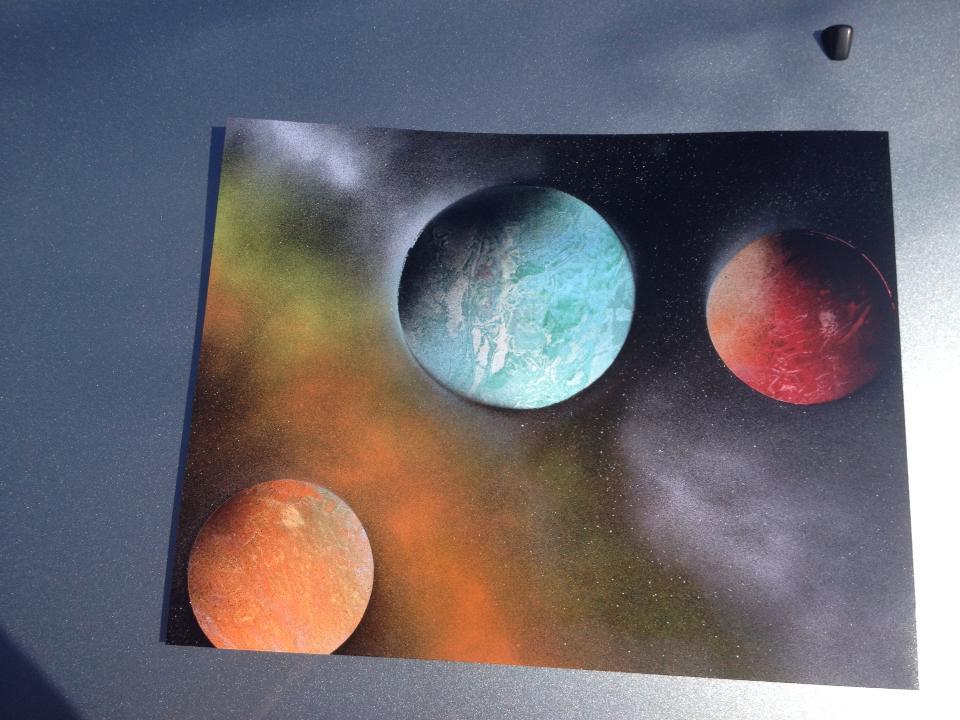 Orange, Blue, Red Planets