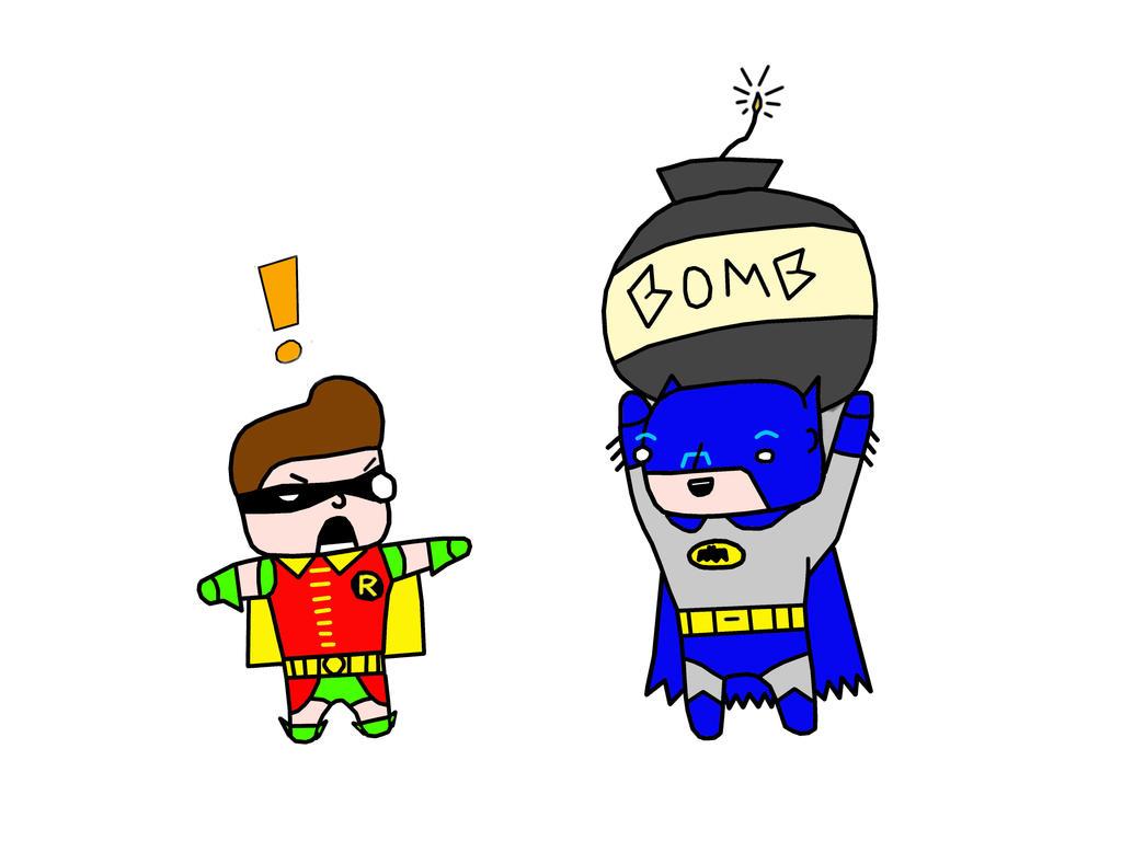 Batman  Robin '66 Chibis by jupiter1996
