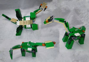Three Views of a Lego Sauropod