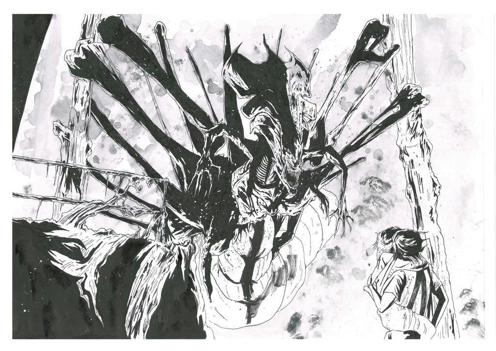Alien Queen inks by brendanpurchase