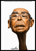 Caricatura Saramago by nelsonsantos