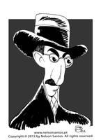Fernando Pessoa caricature portrait by nelsonsantos