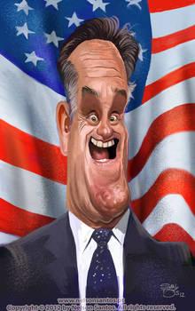Caricature of Mitt Romney
