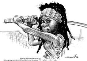 Walking Dead Michonne caricature sketch by nelsonsantos