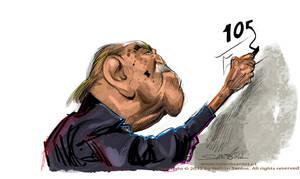 Oscar Niemeyer caricature by nelsonsantos
