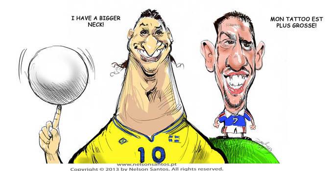 Ibrahimovic Ribery caricatures