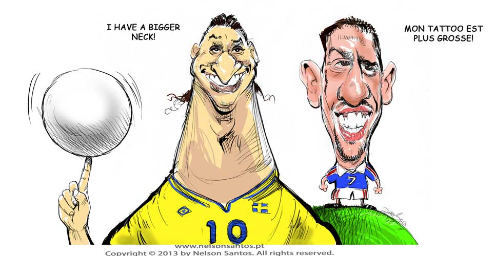 Ibrahimovic Ribery caricatures by nelsonsantos