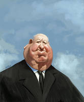 Alfred Hitchcock caricature by nelsonsantos