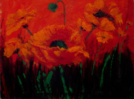 Abstract Red Poppies