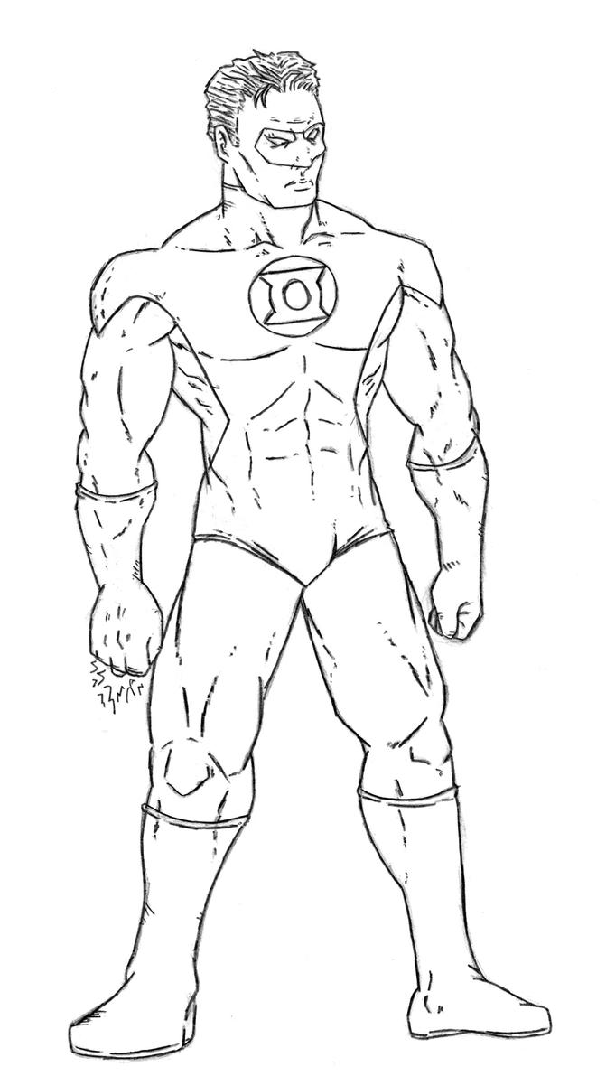 Green lantern standing pencils by benji138 on deviantart for Green lantern coloring page