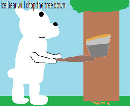 Ice Bear is chopping down the tree