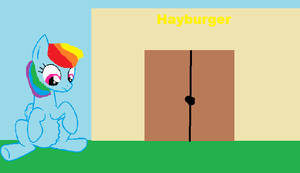 Rainbow Dash is hungry for hayburger